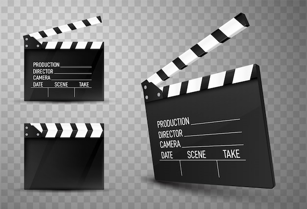 Cinema clapper boards isolated. movie clappers Premium Vector