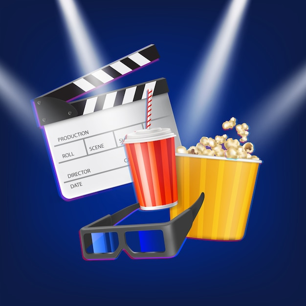 Cinema clapper, popcorn, 3d glasses and drink Free Vector