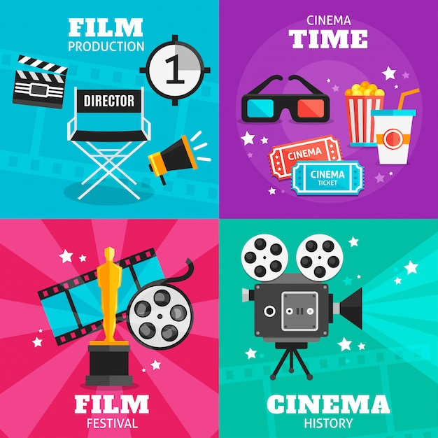Cinema colored elements set Free Vector