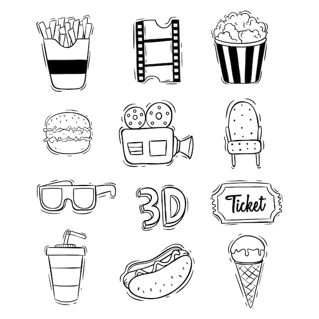 Cinema cute icons collection with hand drawn style Premium Vector