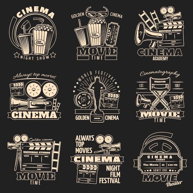Emblema del cinema oscuro Vettore gratuito