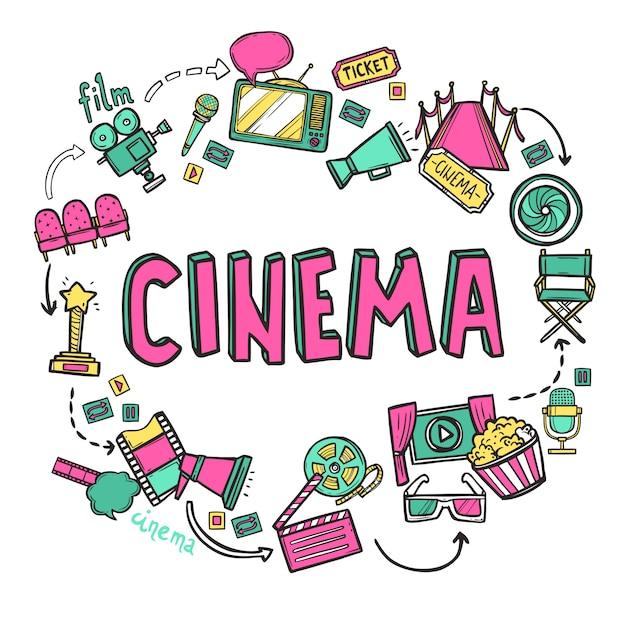 Cinema design concept Free Vector