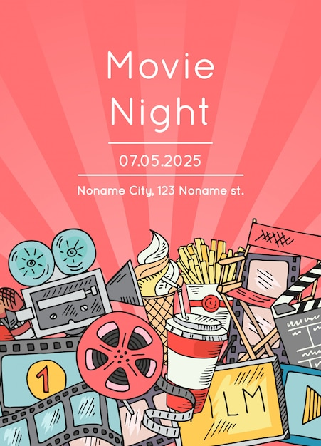 Cinema doodle icons poster for movie night or festival Premium Vector
