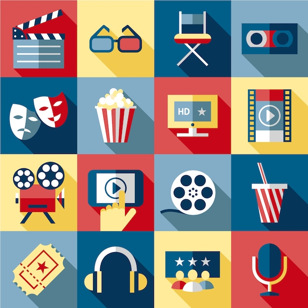 Cinema elements collection Free Vector
