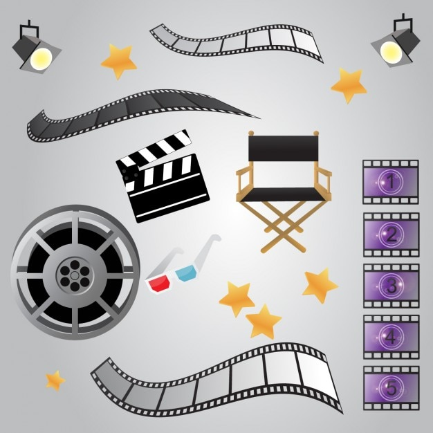 Cinema elements design Free Vector