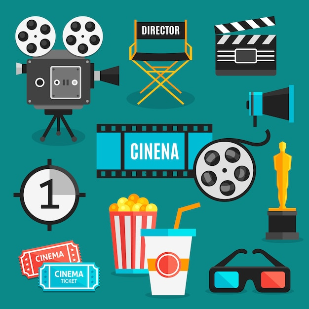 Cinema elements set Free Vector