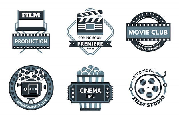 Cinema emblem set Free Vector