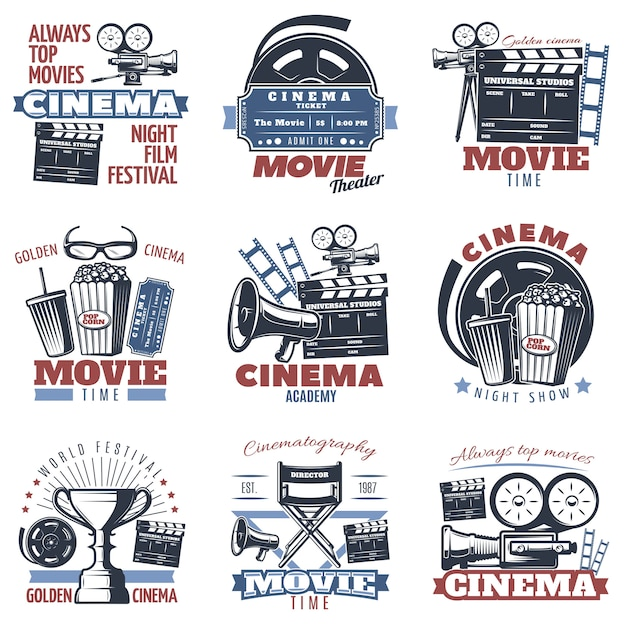 Cinema emblems in color Free Vector