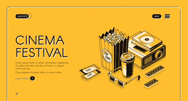 Cinema festival movie time entertainment banner Free Vector