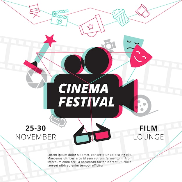Cinema festival poster with camcorder silhouette in center and attributes of film industry Free Vector