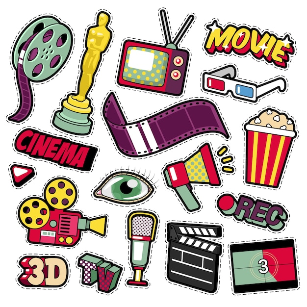 Cinema film television patches, badges, stickers set with camera, tv, tape.  doodle in comic style Premium Vector