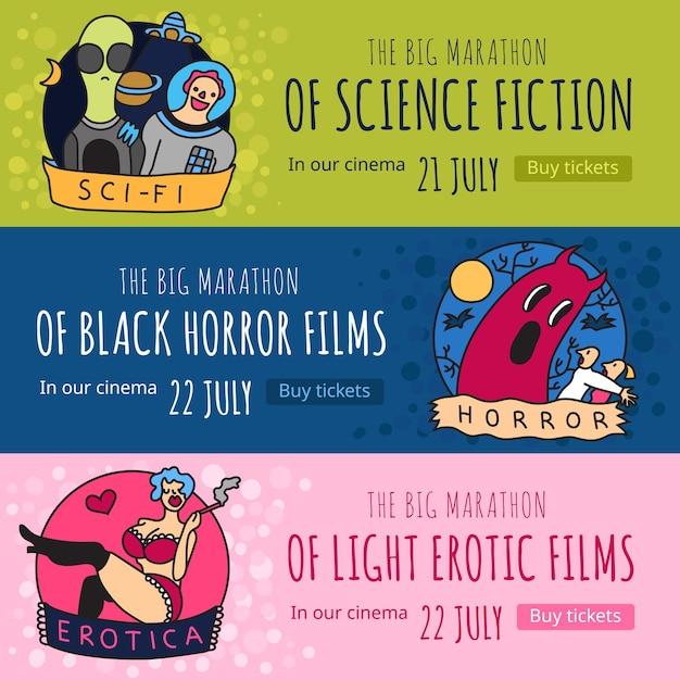 Жанры кино 3 забавных красочных горизонтальных баннера с изолированными фантастическими фильмами ужасов и эротическими фильмами Бесплатные векторы
