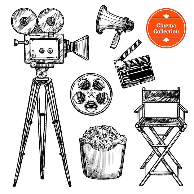 Cinema hand drawn set Free Vector