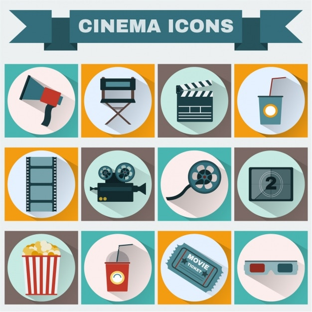 Cinema icons collection Free Vector