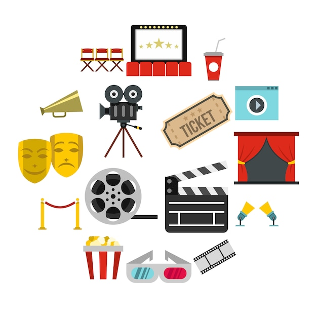 Cinema icons set, flat style Premium Vector