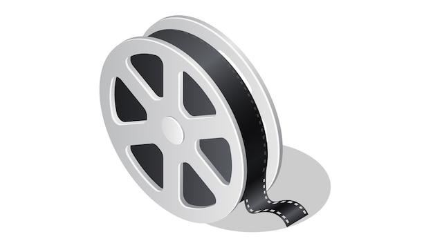 Cinema isometric icon with shadow illustration Free Vector