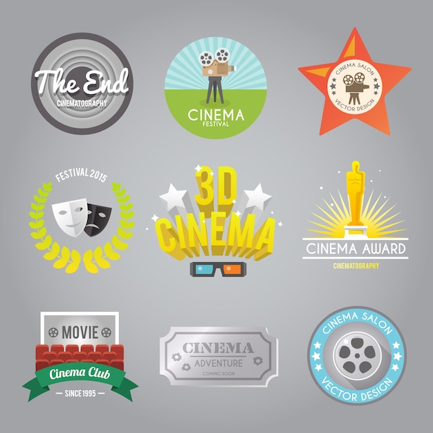 Cinema labels collection Free Vector