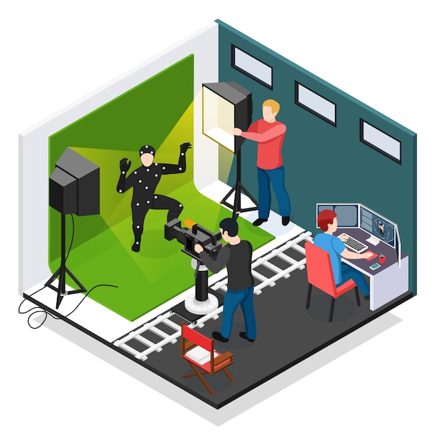 Cinema motion capture isometric composition with actor videographer illuminator and graphic designer during work Free Vector