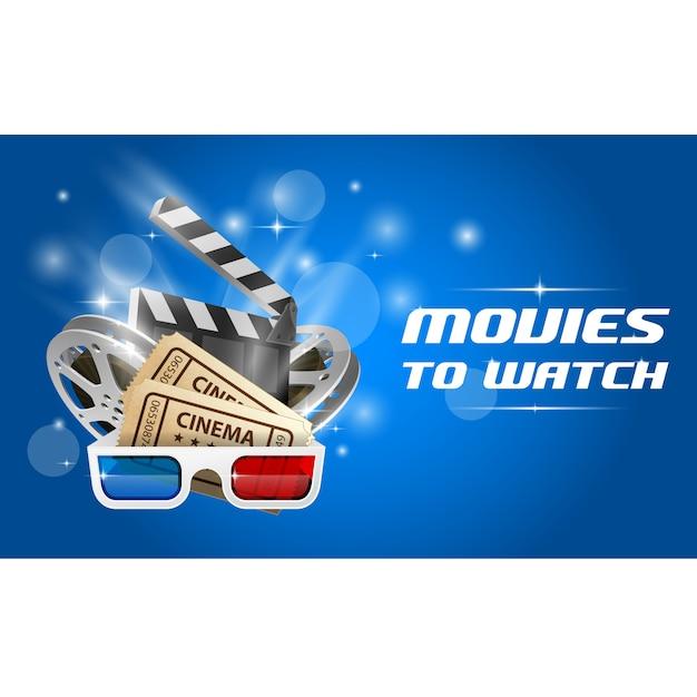 Cinema and movie banner Premium Vector