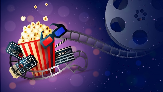 Cinema movie concept. Premium Vector