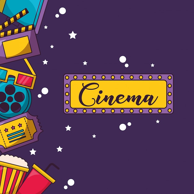 Cinema movie illustration Free Vector