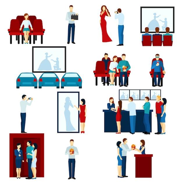 Cinema movie theater flat icons set Free Vector
