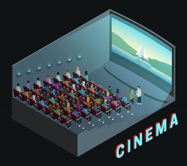 Cinema movie theater indoor auditorium isometric view poster Free Vector