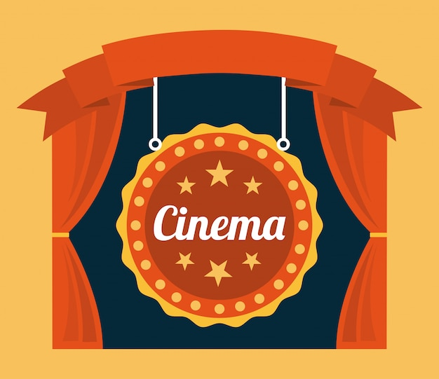 Cinema over orange background Free Vector
