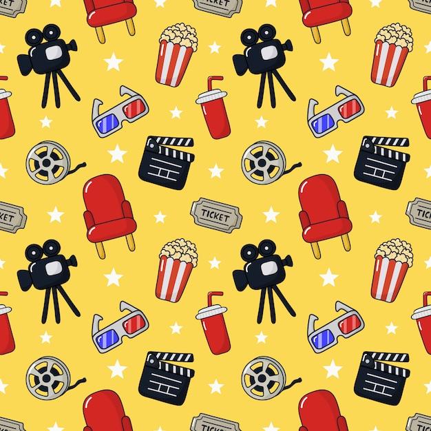 Cinema pattern seamless. Premium Vector