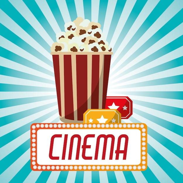 Cinema pop corn tickets blue stripes background Premium Vector