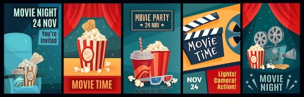 Cinema poster. night film movies, popcorn and retro movie posters template  illustration set Premium Vector