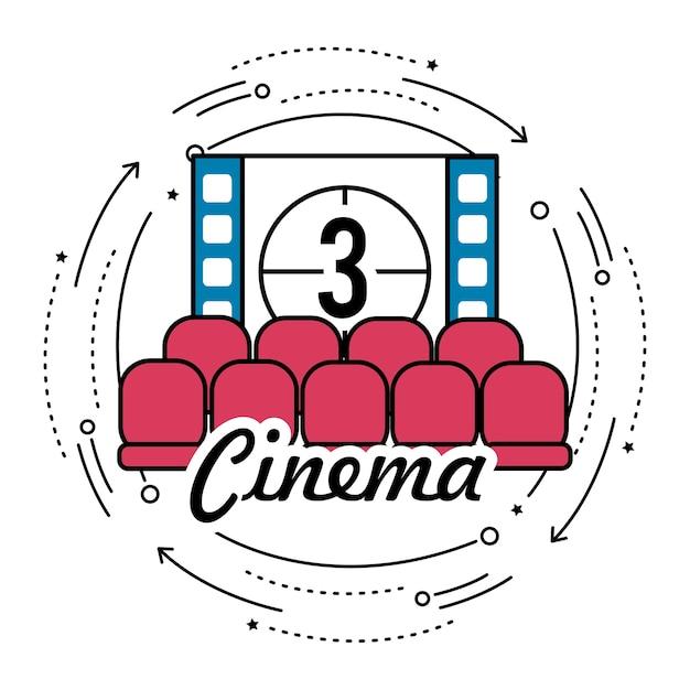 Cinema room with film countdown number 3 Premium Vector