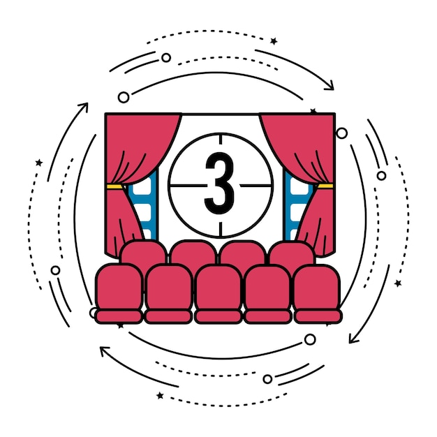 Cinema room with film countdown number 3 Premium Vector