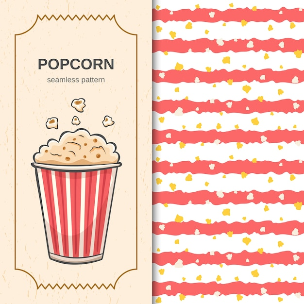 Cinema seamless pattern with handdrawn brush red stripes and flying popcorn Premium Vector