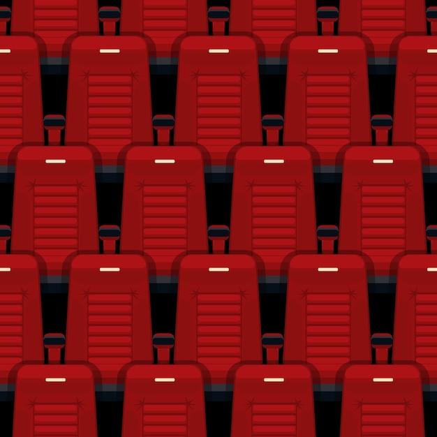 シネマシートのシームレスパターン。劇場と講堂、娯楽と赤、列とインテリア。 無料ベクター