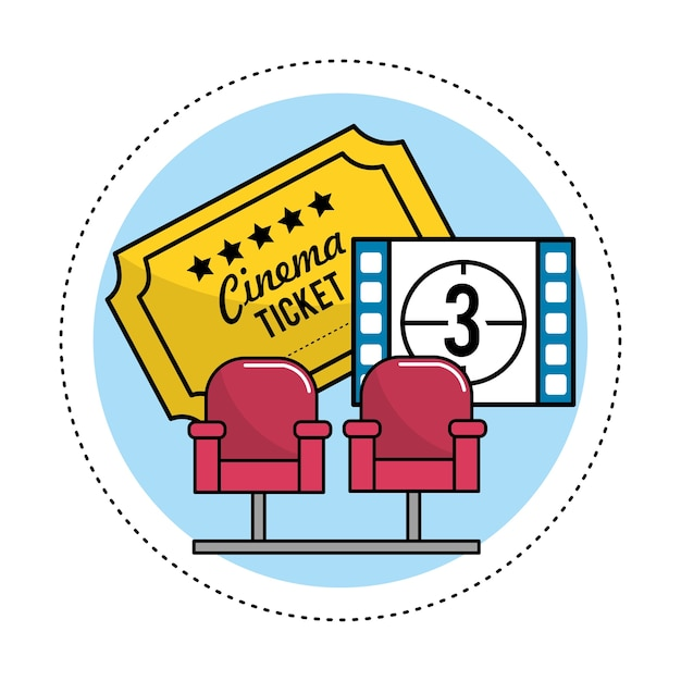 Cinema seats with tickets and film countdown Premium Vector