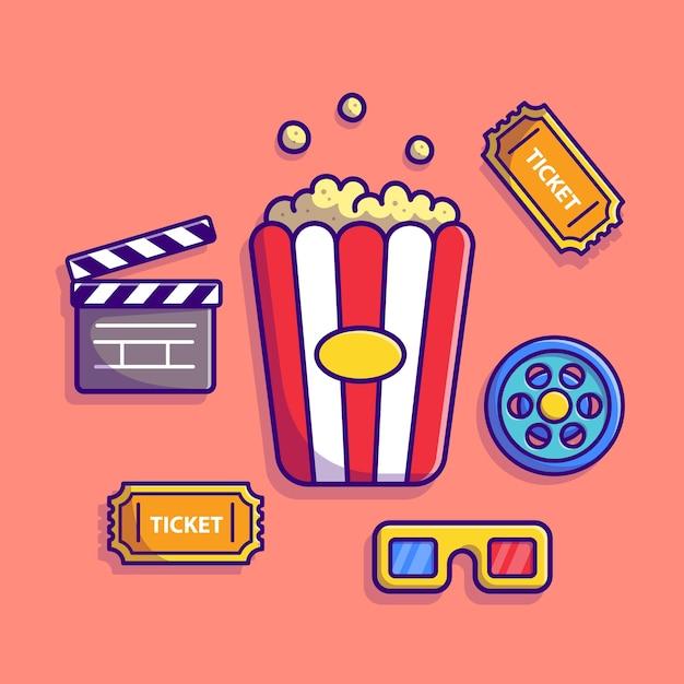 Кино набор мультфильм значок иллюстрации. люди концепции промышленного значок изолированы. плоский мультяшном стиле Бесплатные векторы