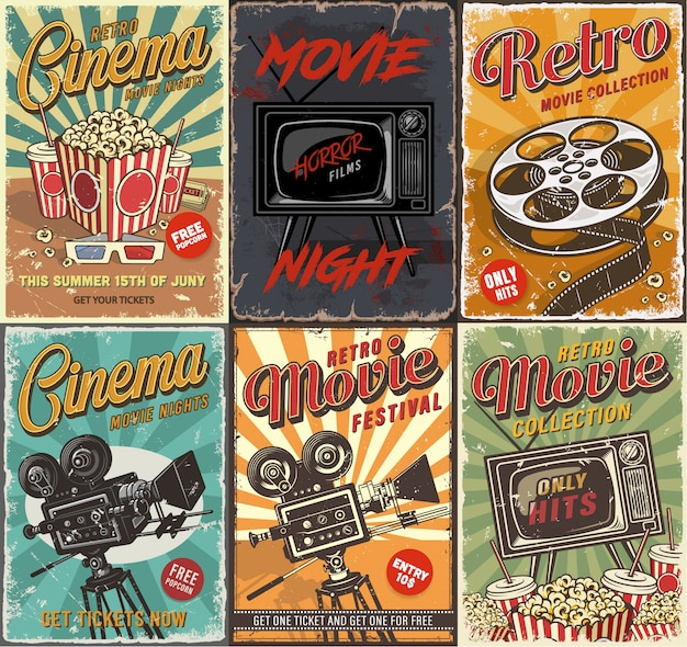 Cinema set of posters Free Vector