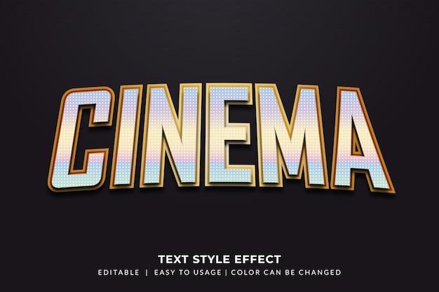 Cinema text style с эффектом металлик Premium векторы