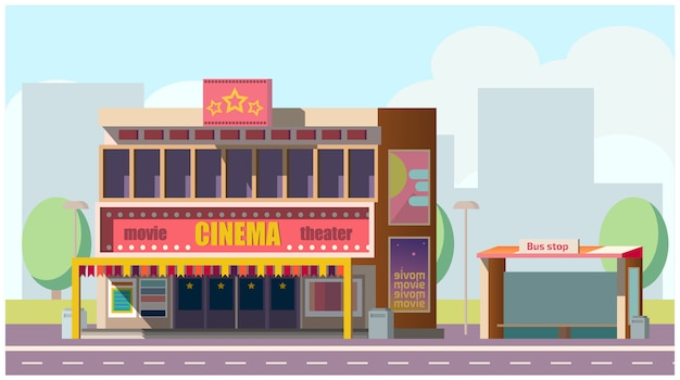 Cinema theater on city street Free Vector