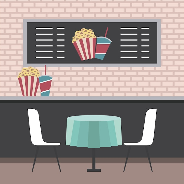 Cinema theater counter table chairs popcorn and sodas Premium Vector