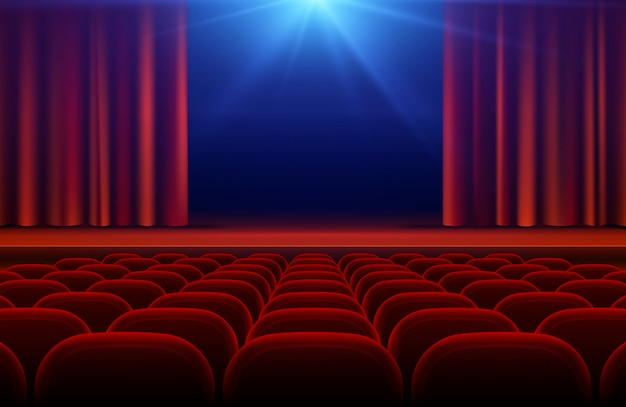 Cinema or theater hall with stage, red curtain and seats vector illustration Premium Vector