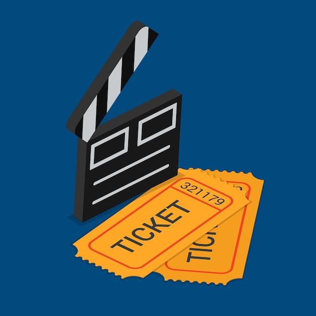 Biglietto di partecipazione allo spettacolo di cinema teatro prenotazione isometrica piatta Vettore gratuito