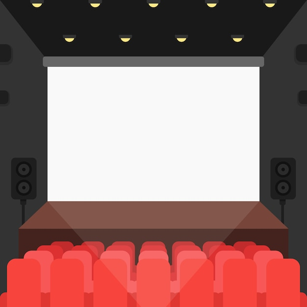 Cinema theater with seats and blank screen Premium Vector