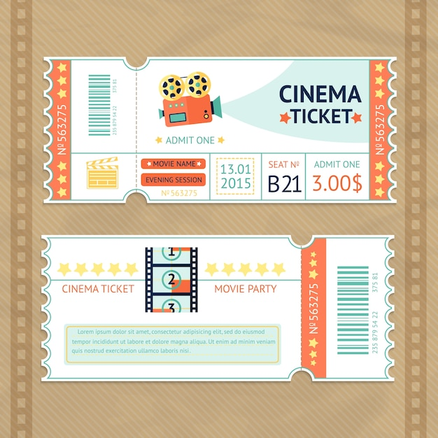 Cinema tickets set Free Vector