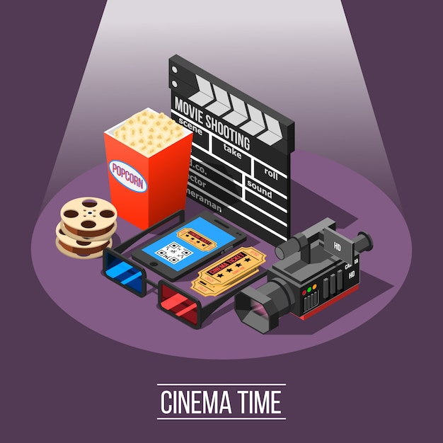 Cinema time background Free Vector