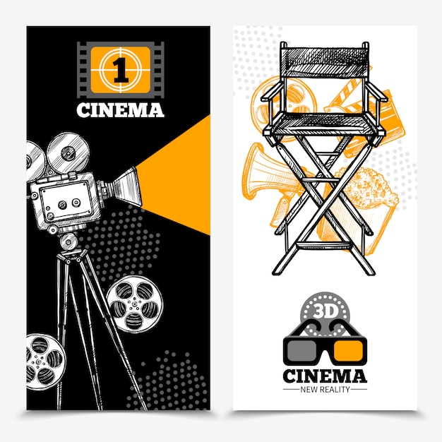 Cinema vertical banners Free Vector