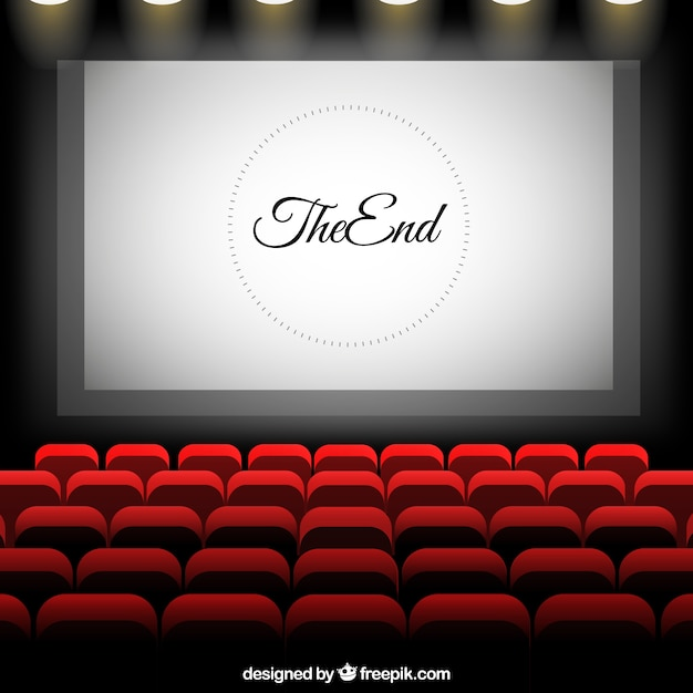 Cinema With Screen And Red Seats Vector Premium Download