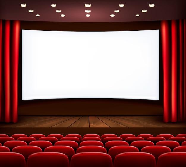 Кинотеатр с белым экраном, занавеской и сиденьями. Premium векторы