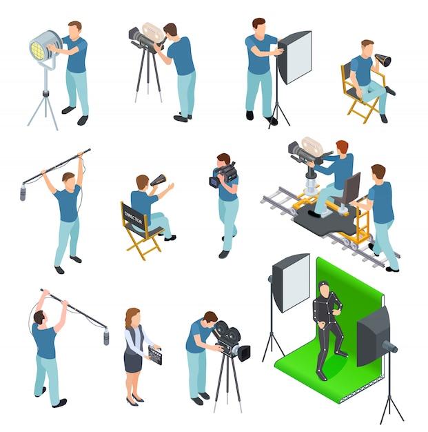 Кинематограф изометрический набор. люди работают камера свет экипаж фильм видео фильм кинопроизводство телестудия зеленый экран Premium векторы